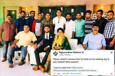 Rajyavardhan Singh Rathore praises footballer who stalls his marriage to make his team win
