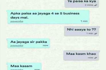 """Hilarious Conversation Between Zomato app executive & Customer goes Viral """"Maa Kasam"""""""