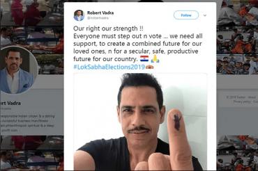 Robert Vadra's Blooper, tweets red & blue Paraguay flag emoji with election selfie