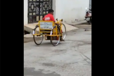 Video of differently-abled Zomato delivery boy on his tricycle going viral