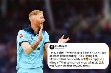 Ben Stokes 'threatens' to delete Twitter over Kohli jokes